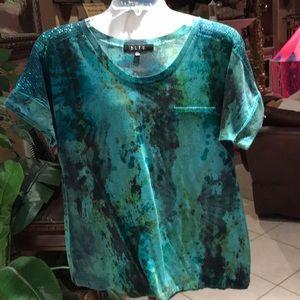 green splattered paint design t shirt